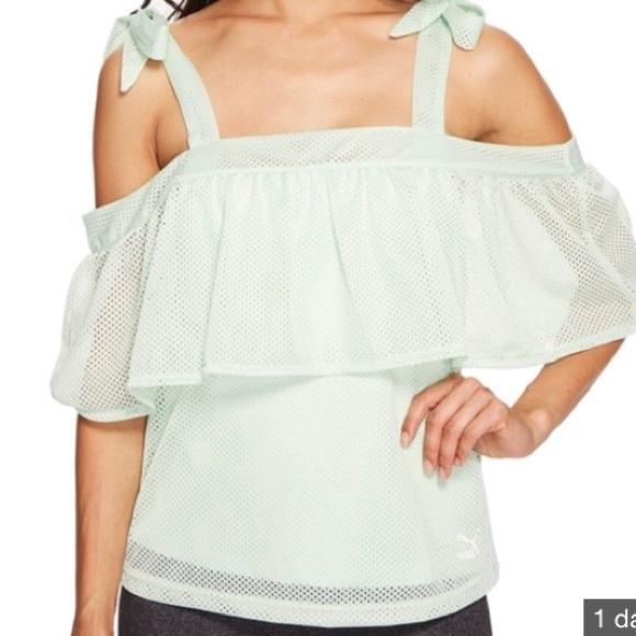 833450018c4 [Puma] Xtreme Off Shoulder, mint green, mesh top. NWT. Puma. $35 $50. Size.  M